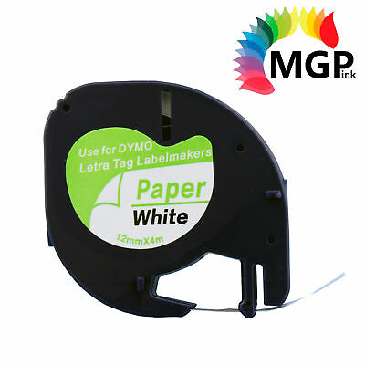 30x Compatible LetraTag Paper Tape for Dymo 91200 Black on White 12mm x 4m
