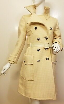 Vtg., Ivory, Wool, Double-breasted, Belted, Full-length, 1940s, Coat (Size Med)