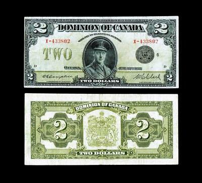 1923 Dominion Of Canada 2 Dollar Bank Note Black Seal