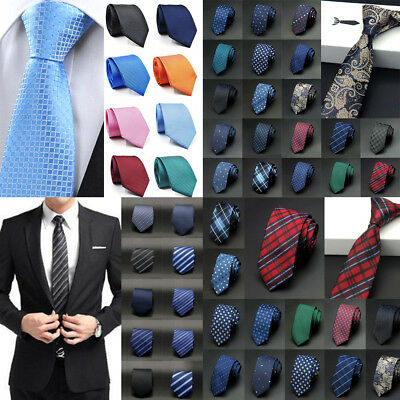 Men Slim Tie Party Wedding Office Necktie Jacquard Woven Plain Skinny Silk Tie