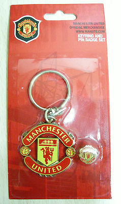 NEW Manchester United FC Official Metal Keyring(keychain)   Badge Set  (KBP248) 738ddffb066