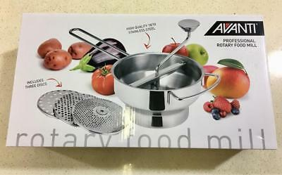 Avanti Professional Rotary Food Mill with 3 Blades Mouli Ricer Mash Masher