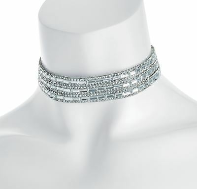 New Ladies Rhodium Color Silver Crystal Heat Seal Choker Necklace