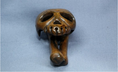 Netsuke Skull Bone Japanese Late Edo Era Japan Antique Hand Carved strap F/S EMS