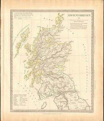 1834 Antique Map- Sduk - Ancient Britain Ii - Scotland