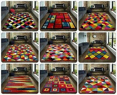 Modern Luxury Hand Carved Multi Colour Carpets Small Large Floor Rugs Runner Mat