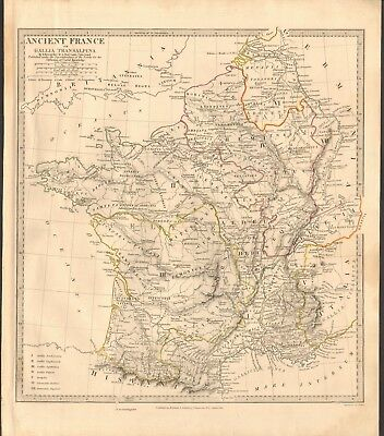 1832 Antique Map- Sduk - Ancient France, Or Gallia Transalpina