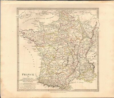 1832 Antique Map- Sduk - France In Provinces