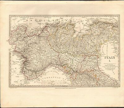 1832 Antique Map- Sduk - Modern (1832) Italy I, North