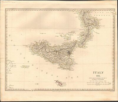 Modern Map Of Italy.1830 Antique Map Sduk Modern 1830 Italy Iii South And Sicily Malta
