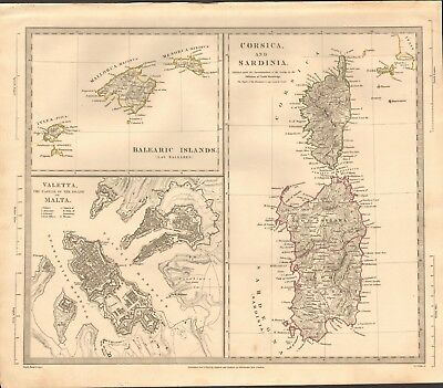 1831 Antique Map- Sduk - Valetta Plan, Balearic Islands, Corsica, Sardinia