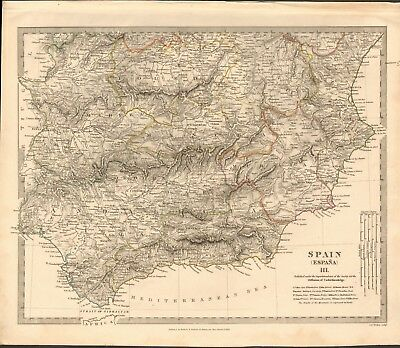 1831 Antique Map- Sduk - Spain Iii, South, Valencia,cartagena,gibraltar,badajoz