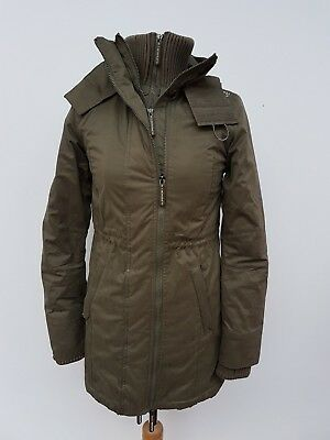 U413 Womens Superdry The Windcheater Green Fleece Lined Hooded Jacket Uk Xs 6