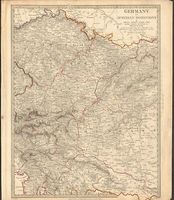 1832 Antique Map- Sduk - Germany Iv, Austrian Dominions, Bohemia,moravia,austria