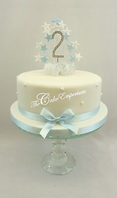 Baby Blue Star Burst Birthday Cake Topper Diamante Number 1 2 3 4 5 With Ribbon