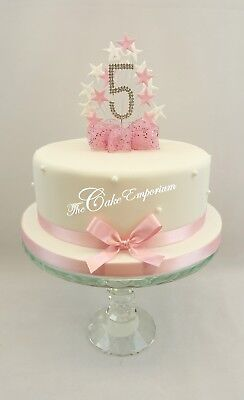 Baby Pink Star Burst Birthday Cake Topper Diamante Number 1 2 3 4 5 With Ribbon