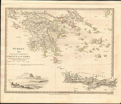 1829 Antique Map- Sduk - Turkey Iii, Southern Part Of Greece And Candia