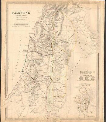 1843 Antique Map- Sduk - Palestine In The Time Of Our Saviour By W Hughes