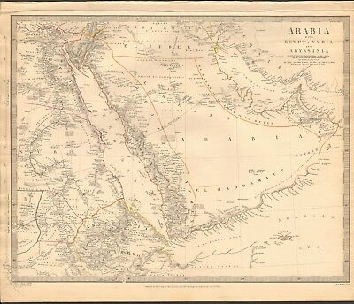 1843 Antique Map- Sduk - Arabia With Egypt, Nubia And Abyssinia