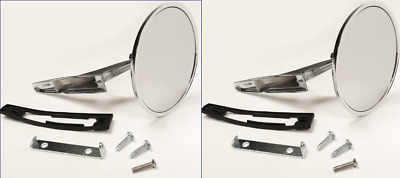 Chevy Chrome Round BOWTIE Rear View RIBBED Base Door Side Mirror & Hardware Pair