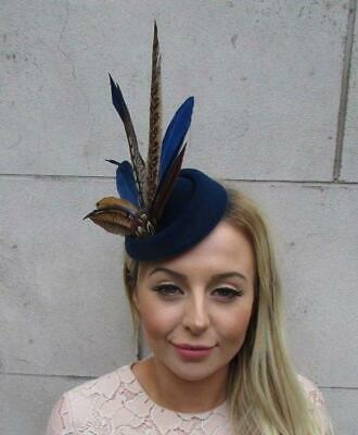 Navy Blue Pheasant Feather Pillbox Hat Fascinator Races Hair Clip Ascot 5333