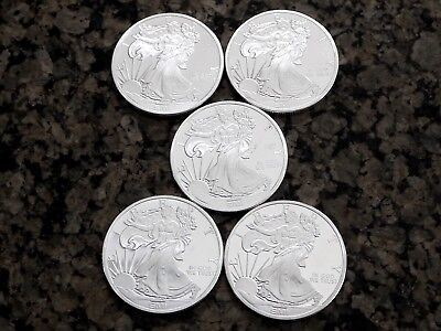 Sunshine Minting Lot of 5 Walking Liberty 1oz Silver Rounds Mint Mark SI™, NR