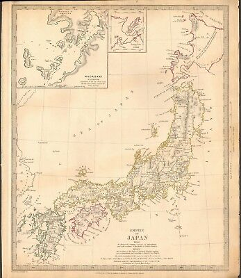 1835 Antique Map- Sduk - Empire Of Japan, Inset Nagasaki Harbour