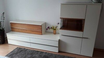 musterring aterno wohnwand anbauwand schrankwand nussbaum creme marke eur 500 00 picclick de. Black Bedroom Furniture Sets. Home Design Ideas