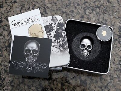 2016 Palau $5 1oz Silver Skull No 1 Antique Finish w/ $1 .5 gram Gold Skull Coin