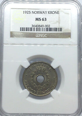 1925 MS63 Norway Krone KM# 385 NGC UNC Haakon VII Scarce Condition 1st year type