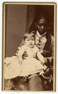 BLACK WOMAN WHITE CHILD NANNY CDV GORGEOUS 1870s PHOTO SPRINGFIELD MASSACHUSETTS