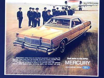 """1973 Mercury Marquis """"44 out of 50 airline pilots judge it better """" (Print Ad)"""