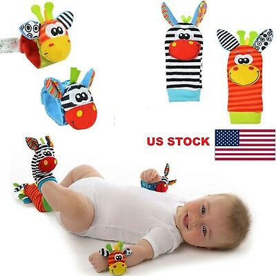 Baby Infant Developmental Soft Wrist Strap Foot Socks Rattle Bug Finders Toy USA