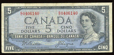 1954 Bank of Canada $5 - Devil's Face Note E/C0406140