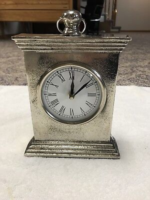 Silver Antiqued Finish Mantel Table Clock