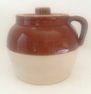 "VTG STONEWARE POTTERY CROCK JUG ONE HANDLE POT PRIMITIVE 6"" Blue Crown #2"