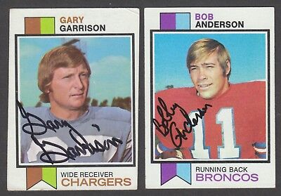 Lot of (2) 1973 Topps Autographed NFL Football Signed Vintage Auto Cards w/ HOF