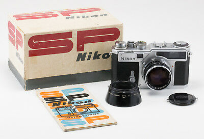 NIkon SP silver camera w/50/1.4 lens cap hood booklet box EXC++ (24)