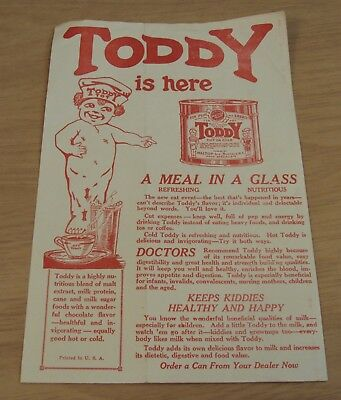 "Original ca 1930 HEALTH DRINK Advertising Flyer""TODDY is Here-A MEAL in a GLASS"""