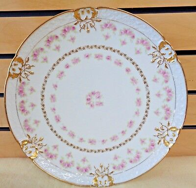 """Antique LIMOGES Pink Roses with Gold 12.5"""" Round PLATTER Tray Plate (TH1308)"""