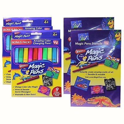 Magic Pens Color Changing Markers Wham o As Seen On TV Washable Stencils 20 Pens
