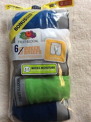Fruit Of The Loom 6 pack Boys Boxe Briefs New Unopened Package Size M 10-12