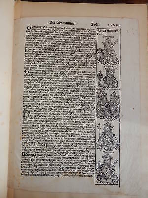 THE NUREMBERG CHRONICLE w/original leaf from 1493 first Latin ed.  # 242/300