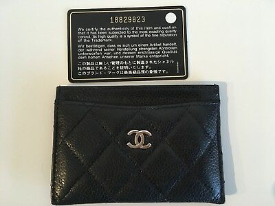 Auth 14C CHANEL Card Case Matelasse Quilted CC Caviar Black
