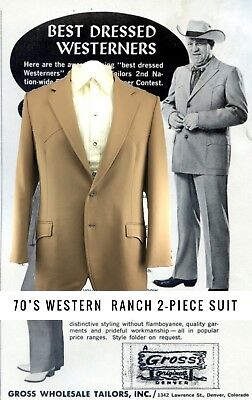 VTG Circle S 70s Ranch Western Mens Suit Size 42-44