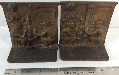Antique  Bookends Cast Iron Pair Spinning Yarn Scene Gold Tone