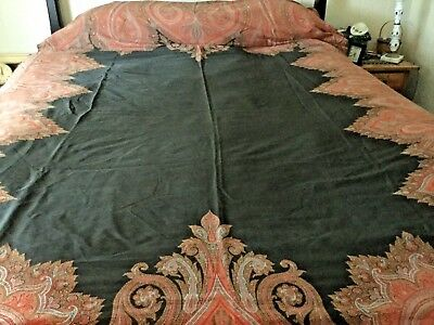 Antique vintage Paisley Wool Cotton Blend Textile Table Bed Piano Cover 62 x130