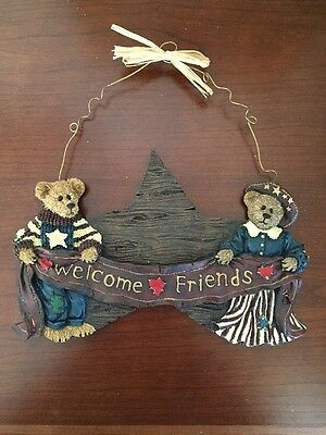 "Boyds Bears ""Welcome Friends"" Wall Plaque, NIB"