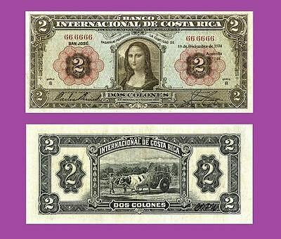 Costa Rica 2 Colones 1934.Mona Lisa  UNC - Reproductions