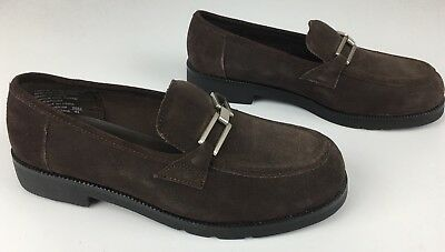 Predictions Women's Size 9W Brown Suede Leather Flat Slip On Loafers Shoes